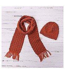 alpaca blend hat and scarf, 'salamander bliss' (peru)