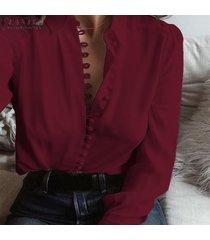 camisa con cuello redondo zanzea para mujer-verde claro