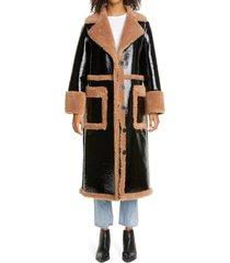 women's stand studio aubrey long faux patent shearling coat, size 4 us - black