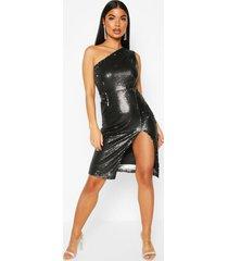 petite midi jurk met eén schouder en pailetten, zwart
