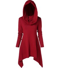 asymmetrical tunic hooded knitwear