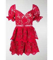 self-portrait sweetheart-neckline lace mini dress