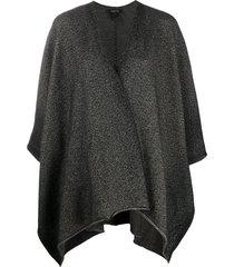 avant toi wrap-front patterned cape - grey
