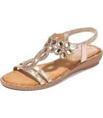 sandalias de flores de diamantes de imitación de verano mujer-oro