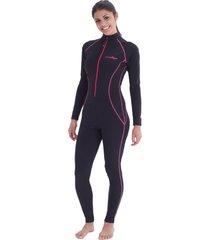 full body sun protective swim suit upf50+ black pink stitch for women