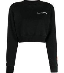 cropped crewneck warped logo sweatshirt, black