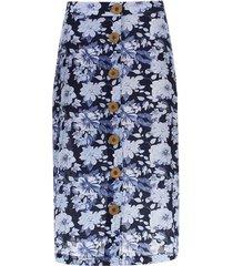 falda larga lineas verticales color azul, talla 10
