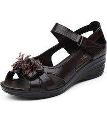 sandali con zeppa loop in pelle con fiore peep toe gancio