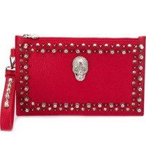 philipp plein studded skull clutch - red