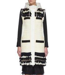 frayed tweed hooded vest