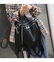 mochila de mujer, remache decoración señoras bolsa de viaje multifunción