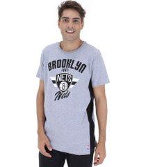 camiseta nba brooklyn nets side cut - masculina - cinza/preto