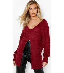 grof gebreide trui met split, dark red