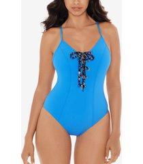 skinnydippers tie breaker lace-up one-piece swimsuit women's swimsuit