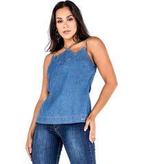 regata latifundio jeans sem manga azul - azul - feminino - dafiti