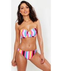 mix & match gestreepte regenboog bikini top met beugel, roze