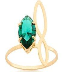 anel skynni ring aro vazado e cristal navete rommanel