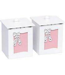 conjunto de potes ballerina - rosa - bailarinas