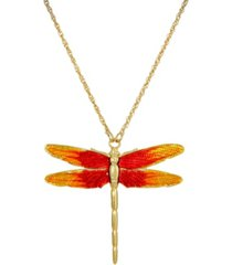2028 women's gold tone orange enamel dragonfly pendant necklace