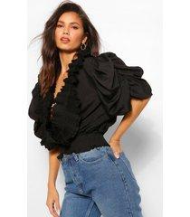 blouse met extreme pofmouwen en ruches, zwart