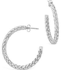 women's thick braided rope chain hoop earrings