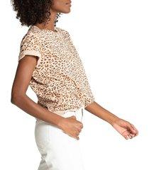 n:philanthropy women's jigsaw bff leopard t-shirt - mocha leopard - size s