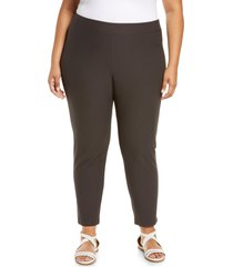 eileen fisher stretch crepe ankle pants, size 3x in espresso at nordstrom