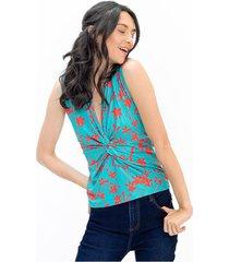 camiseta para mujer en poliester multicolor color-multicolor-talla-l