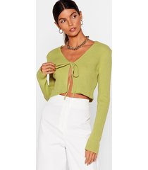 womens we all love a tie-r knitted cropped cardigan - washed lime