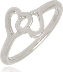 anel dois corações di capri semi jóias x ouro branco prata