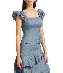 amur women's dede flutter-sleeve chambray peplum tank top - chambray - size s