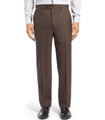 men's berle self sizer waist flat front classic fit wool dress pants, size 35 x unh - brown