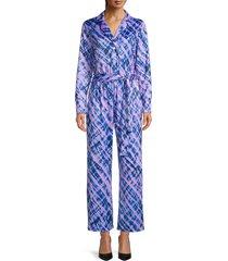 terez women's tie-dye pajama jumpsuit - size xl