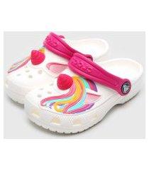 babuche crocs infantil unicorn clog branco/rosa