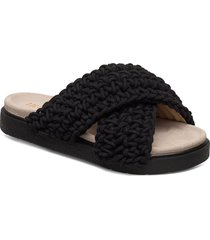 slipper woven shoes summer shoes flat sandals svart inuikii