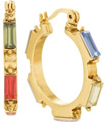 steve madden gold-tone medium multicolor rectangle crystal hoop earrings, 1.12""