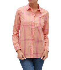 blusa cuadros rosa gap