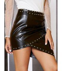 falda de cintura alta con diseño cruzado negro yoins
