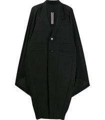 rick owens batwing sleeve coat - black