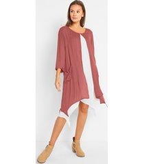 crêpe jurk in layerlook met puntige onderrand