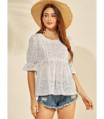 yoins blusa con mangas acampanadas y huecos bordados en blanco diseño