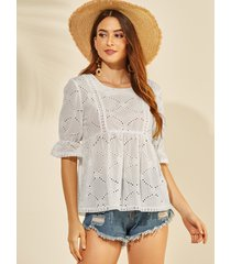 yoins blusa de mangas acampanadas con diseño hueco bordado blanco