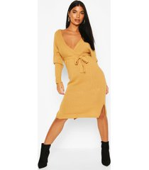 petite knitted belted wrap dress, camel