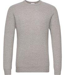 man o-neck ribbed sweater stickad tröja m. rund krage grå davida cashmere