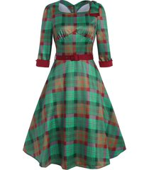 plaid bowknot square neck belted dress