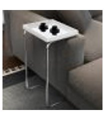 mesa de apoio pilar espelhada base cromada neew house branco