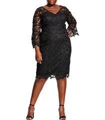 plus size women's city chic three-quarter sleeve cocktail dress