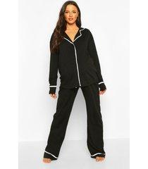 zwangerschap pyjama set met biezen, zwart