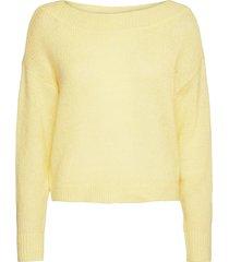 vigood boat neck knit l/s top/2 stickad tröja gul vila