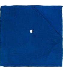 faliero sarti cachecol de tricô com acabamento desfiado - azul